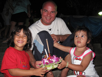Abbie, Iain and Keira at Loy Krathong festival in Karon, Phuket